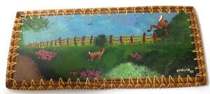 Folk Art Painting of Deer on Wood Pine Needle Basketware Frame  Stanley NC 1995