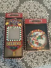 Mary Engelbreit Christmas Ornaments; Kurt Adler: Happy Winter & Believe, In Box