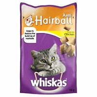 WHISKAS Anti-Hairball Cat Treats with Chicken - 55 g, Pack of 8