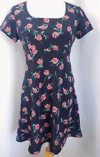 Vintage 90s ESPRIT dress size 7/8 Grunge Festival Black Floral Small Babydoll