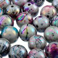 100 Mix Acryl Rund Spacer Perlen Beads Kugeln Mehrfarbig 12mm