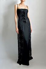 Michael Stephen Black French Lace Sequins 2 Piece Stretch Maxi Gown/ Dress Small