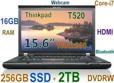 "Thinkpad T520 i7-2.70GHz (256GB SSD + 2TB HDD) 16GB DVDRW 15.6"" HD+ BT HDMI"