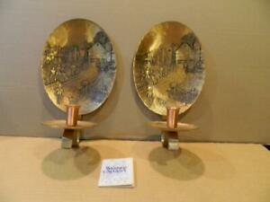 2 Wendell August Bronze Wall Sconce/ Candle Holders Amish Farm Scene w/ COA