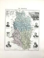 1893 Antique Map of Meuse Bar Le Duc France French Department Old Hand Coloured
