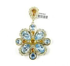 Blue Topaz Citrine & Diamond Cluster Pendant 14K Yellow Gold 29.45Ct