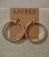 • LAUREN Ralph Lauren • 1-1/2 inch Silvertone Bead Hoop Earring. NWT