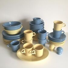 FIESTA WARE VINTAGE BUTTER YELLOW & PERIWINKLE BLUE DINNERWARE SET OF 43 PIECES
