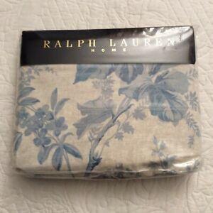 Ralph Lauren CORAL HARBOUR Blue Beige Floral Queen Flat Sheet NIP