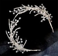 Women Crystal Silver Leaf Prom Party Hair Headband head Band Fascinator Tiara