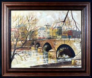 Original Art 1960s/70s Parisian Street Scene Oil Painting Signed Cordi