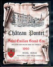 Etiquette Château PONTET. 1990. SAINT EMILION Grand CRU