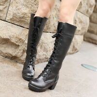 Ladies Leather Lolita Riding boots Lace Up Chukka Knee High Block Heel Shoes New