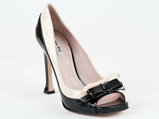 New  Miu Miu by Prada Peep Toe Black&Beige Patent Leather Shoes Size 35 US 5