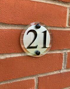 MODERN DOOR NUMBER / ROUND PLAQUE GLASS ACRYLIC OUTDOOR HOUSE SIGN