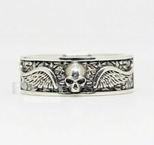 Skull wings Band Ring biker Rider 925 Sterling silver Wings Ring Flying Size 10