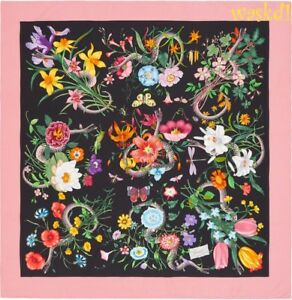 GUCCI black Pink border FLORA SNAKE signature silk scarf bandana NWT Authen $495