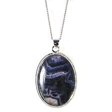 Silver / Blue John Pendant and Chain (Rope Edge Large Piece)