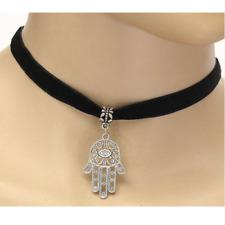 Hamsa Hand Evil Eye Choker, Pendant Charm - Black Faux Velvet Choker Necklace
