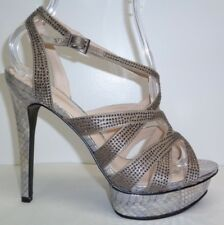 Pelle Moda Size 9.5 M MALIN Pewter Silk Platform Heels Sandals New Womens Shoes