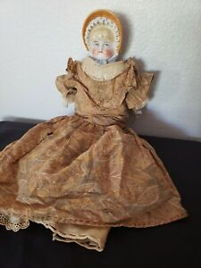Antique doll - Glass/Ceramic/Bisque face, hands & foot
