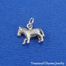 .925 Sterling Silver ZEBRA African Horse CHARM PENDANT *NEW*