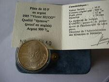 RARE 10 FRANCS ARGENT 1985 VICTOR HUGO BE BELLE EPREUVE FDC NEUVE