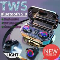 Mini Bluetooth 5.0 Headset TWS LED Wireless Earphones In-Ear Earbuds Headphones