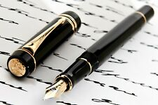 PARKER DUOFOLD GOLD TRIM BLACK FOUNTAIN PEN NEW MODEL 18K (M) SOLD OUT✒️!!