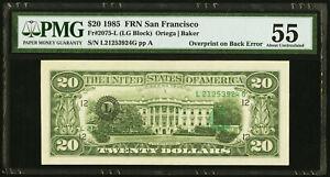 Overprint on Back Error Fr. 2075-L $20 1985 Federal Reserve Note. PMG 55