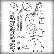 """Stempel Clear Stamps, """"Einladung zum Kindergeburtstag im Zoo"""" Elefant, Giraffe"""