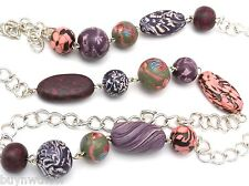 """Viva Beads Necklace Handcrafted Polymer  36"""" Purples Silver Pierced Earrings"""