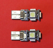 "2 x T10, W5W, 501, 5 SMD 5050 LED WHITE BULB ERROR FREE CANBUS ""Sidelights"" NEW"