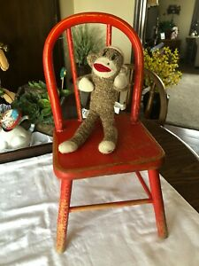 """Red Antique/Vintage Doll or Child Chair sturdy nice patina 18 1/2"""" tall   #1"""