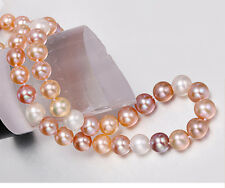 """18""""13-16MM NATURAL SOUTH SEA GENUIN WHITE GOLD PINK PURPLE ROUND PEARL NECKLACE"""