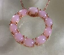4 Ct, Peruvian Pink Opal Pendant, Circle Of Life, Rose Gold On Sterling Silver