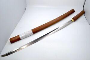 Katana Japanese antique sword 67.9cm blade shirasaya Mumei Edo Horimono Carvings