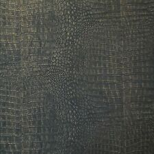 Crocodile Vinyl Black Copper Metallic Textured Wallpaper modern wallcoverings 3D