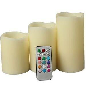 "Set of 3 LED Color Changing Flameless Ivory Candles With Remote Control 4"" 5"" 6"""