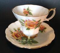 Royal Albert Pedestal Tea Cup And Saucer - Sweetheart Rose Margaret - England