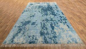 10x14 Modern Rug Abstract Rug Area Rug Blue Rug Wool & Silk Free Shipping  #8037