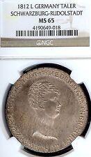German States Schwarzburg-Rudolstadt 1812 L Taler Coin Thaler NGC MS 65 F.Stg/St