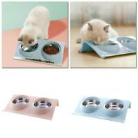 Double Pet Bowl Dog Cat Twin Dish Stainless Steel Water Food Feeder Station New