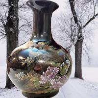"""Vintage 1950s MCI Japan Vase Black Gold Peacocks Wide Base Glossy Floral 8"""""""