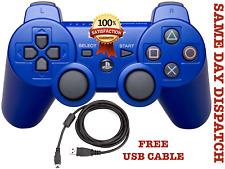 NOUVEAU SONY Sixaxis PLAYSTATION 3 Bluetooth sans fil contrôleur PS3 + Câble Bleu UK
