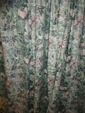 LAURA ASHLEY ASHBOURNE GREEN BLUE PINK LEAVES (2) LINED CURTAIN PANELS 40 X 85