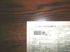 1969 lincoln & mark iii models 365 hp 460 v8 4bbl sun tune up chart great
