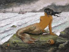 SirenMermaid Painting8.5 X 11 Chalk& CharcoalCottage Art Print Barry Singer