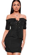 Missguided Women's Short Sleeve Wrap Dress, Black - Size 8
