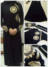 Dubai Abaya Robe Muslim Kaftan Burqa Arab Black Embroidered Islamic Women Dress